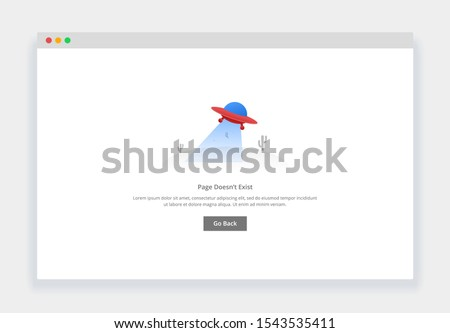 Modern flat design concept of flying ufo, page doesn't exist for website and mobile website. empty states page template Сток-фото ©