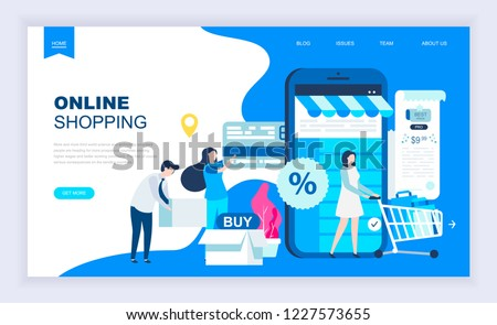 Modern flat design concept of Online Shopping with decorated small people character for website and mobile website development. UI and UX design. Landing page template. Vector illustration.