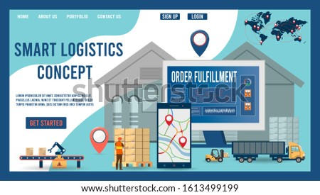 Modern flat design concept of Smart Logistics with with global logistics partnership for website and mobile website.  Easy to edit and customize. Vector illustration