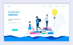 Modern flat design concept of Studying Abroad with decorated small people character for website and mobile website development. UI and UX design. Landing page template. Vector illustration.