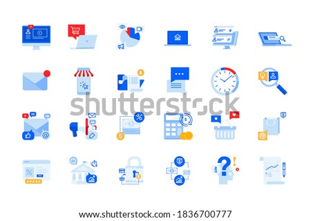 Modern flat design icons of online communication, internet advertising, e-commerce, e-banking. Vector concepts for website and app design and development, business presentation and marketing material.