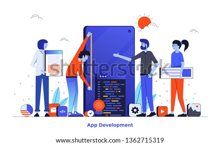 Modern flat design illustration of App Development. Can be used for website and mobile website or Landing page. Easy to edit and customise. Vector illustration isolated on white background. Foto d'archivio ©