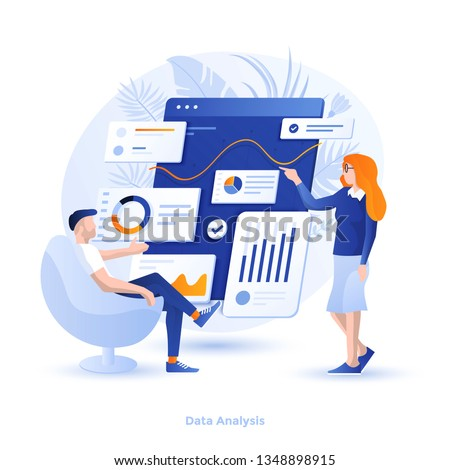 Modern flat design illustration of Data Analysis. Can be used for website and mobile website or Landing page. Easy to edit and customize. Vector illustration