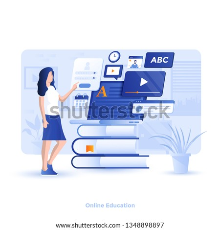 Modern flat design illustration of Online Education. Can be used for website and mobile website or Landing page. Easy to edit and customize. Vector illustration