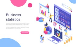 Modern flat design isometric concept of Business Statistic for banner and website. Landing page template. Consulting for company performance, analysis concept. Vector illustration.