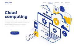 Modern flat design isometric concept of Cloud Computing for website and mobile website. Landing page template. Easy to edit and customize. Vector illustration