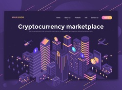 Modern flat design isometric concept of Cryptocurrency Marketplace for website and mobile website. Landing page template, dark theme. Easy to edit and customize. Vector illustration