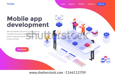 Modern flat design isometric concept of Mobile app development for website and mobile website. Landing page template. Easy to edit and customize. Vector illustration