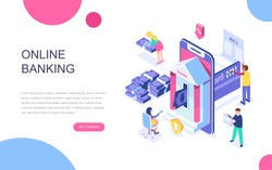 Modern flat design isometric concept of Online Banking for banner and website. Isometric landing page template. Electronic bank payment or customer support. Vector illustration.