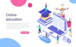 Modern flat design isometric concept of Online Education for banner and website. Landing page template. Graduation, e-learning research, college research, back to school concept. Vector illustration.