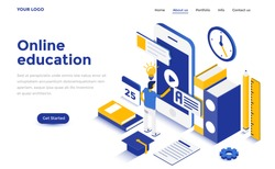 Modern flat design isometric concept of Online Education for website and mobile website. Landing page template. Easy to edit and customize. Vector illustration