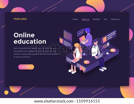 Modern flat design isometric concept of Online Education for website and mobile website. Landing page template, dark theme. Easy to edit and customize. Vector illustration