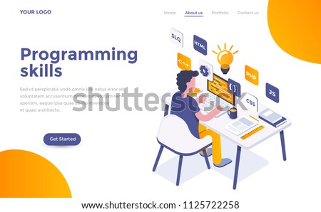 Modern flat design isometric concept of Programming Skills for website and mobile website. Landing page template. Easy to edit and customize. Vector illustration