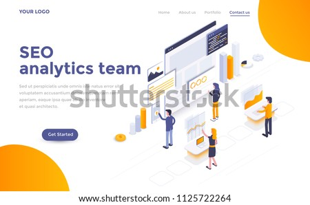 Modern flat design isometric concept of Seo analytics team for website and mobile website. Landing page template. Easy to edit and customize. Vector illustration