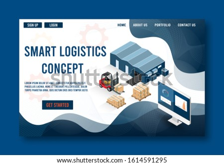 Modern flat design isometric concept of Smart Logistics with with global logistics partnership for website and mobile website.  Easy to edit and customize. Vector illustration