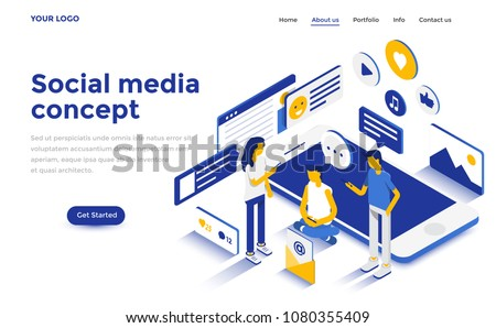 Modern flat design isometric concept of Social Media Concept for website and mobile website. Landing page template. Easy to edit and customize. Vector illustration