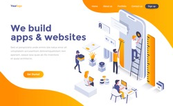 Modern flat design isometric concept of We build apps and websites for website and mobile website. Landing page template. Easy to edit and customize. Vector illustration