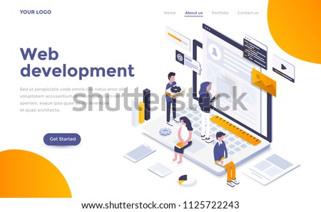 Modern flat design isometric concept of Web Development for website and mobile website. Landing page template. Easy to edit and customize. Vector illustration