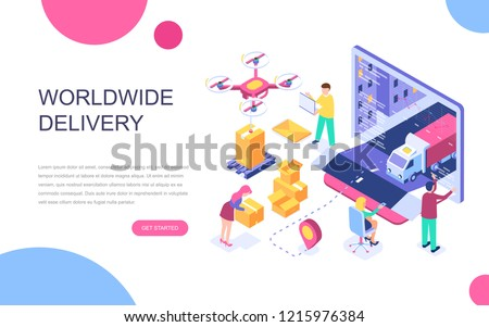 Modern flat design isometric concept of Worldwide Delivery for banner and website. Isometric landing page template. Warehouse, truck, forklift, courier, drone and delivery man. Vector illustration.