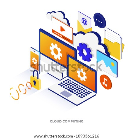 Modern flat design isometric illustration of Cloud Computing. Can be used for website and mobile website or Landing page. Easy to edit and customize. Vector illustration