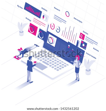 Modern flat design isometric illustration of Data Analysis. Data analysis concept. Can be used for website and mobile website or Landing page. Easy to edit and customize. Vector illustration