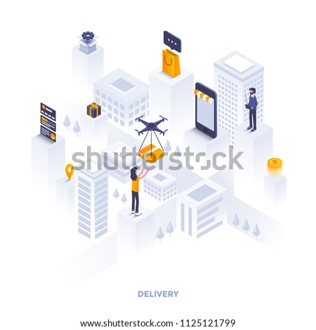 Modern flat design isometric illustration of Delivery. Can be used for website and mobile website or Landing page. Easy to edit and customize. Vector illustration