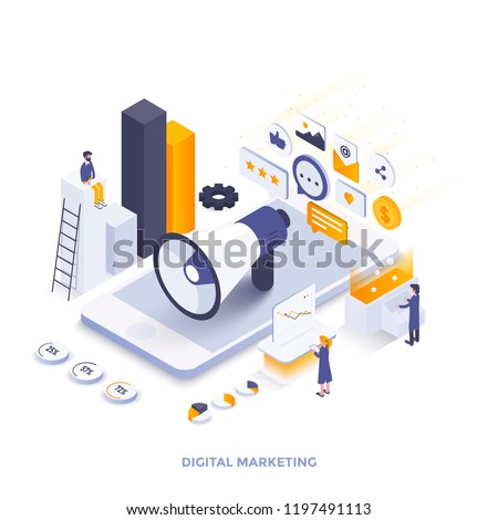 Modern flat design isometric illustration of Digital Marketing. Can be used for website and mobile website or Landing page. Easy to edit and customize. Vector illustration