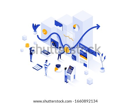 Modern flat design isometric illustration of Investment Solution. Can be used for website and mobile website or Landing page. Easy to edit and customize. Vector illustration