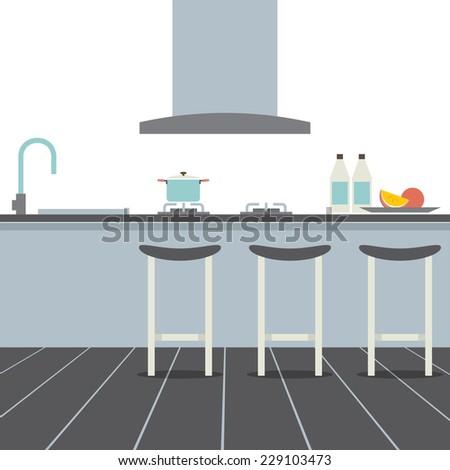 modern flat design kitchen