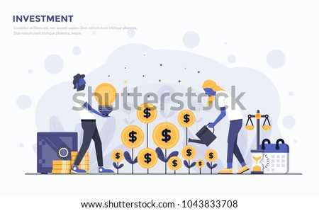 Modern Flat design people and Business concept for Investment, easy to use and highly customizable. Modern vector illustration concept, isolated on white background. Stockfoto ©