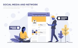 Modern Flat design people and Business concept for Social media and Network, easy to use and highly customizable. Modern vector illustration concept, isolated on white background.
