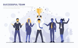 Modern Flat design people and Business concept for Successful Team, easy to use and highly customizable. Modern vector illustration concept, isolated on white background.