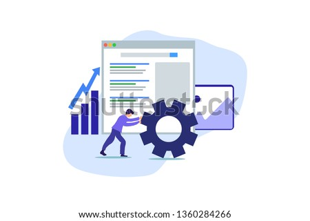 Modern Flat design people and SEO optimized pages business concept, with tiny people character for web landing page template, banner, flyer and presentation.