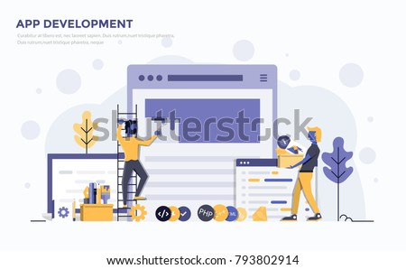 Modern Flat design people and technology concept for website and app development, easy to use and highly customizable. Modern vector illustration concept, isolated on white background.