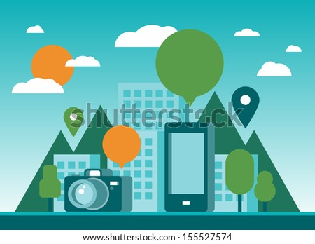Modern flat design stylish vector illustration background of future city with mobile phone, digital camera, empty speech bubble and pin icons.