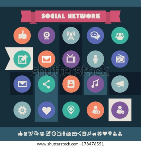 Modern flat design vintage social icons, on circles