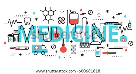 Modern flat editable line design vector illustration, concept of medicine, for graphic and web design.