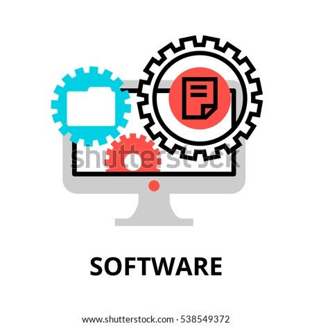 Modern flat editable line design vector illustration, concept of software icon, for graphic and web design