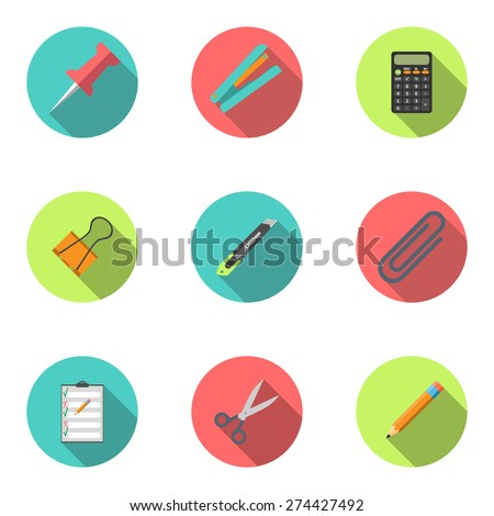 Modern flat icon vector illustration collection with long shadow. Stapler, scissors, clip, stationery knife, notebook, calculator, pencil, button, stationery set Symbol and object. Isolated
