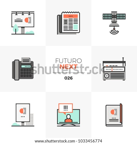 Modern flat icons set of advertising communication, commercial ads. Unique color flat graphics elements with stroke lines. Premium quality vector pictogram concept for web, logo, branding, infographic