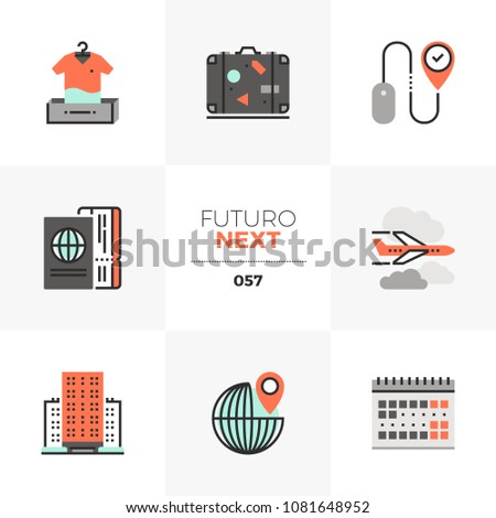 Modern flat icons set of air travel planning, online booking hotel. Unique color flat graphics elements with stroke lines. Premium quality vector pictogram concept for web, logo, branding, infographic