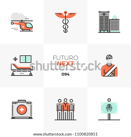 Modern flat icons set of ambulance helicopter, medical center service. Unique color flat graphics elements stroke lines. Premium quality vector pictogram concept for web, logo, branding, infographics.