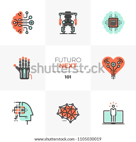 Modern flat icons set of artificial intelligence, computer human synthesis. Unique color flat graphic elements stroke line Premium quality vector pictogram concept for web, logo, branding, infographic