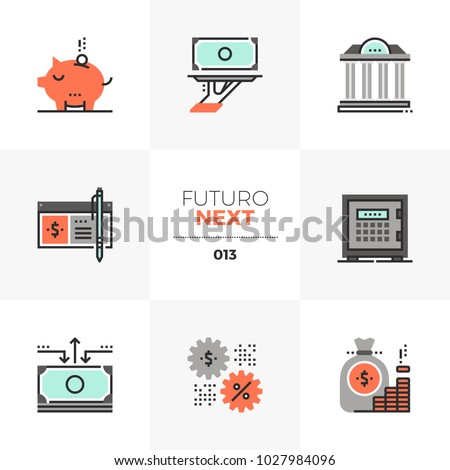 Modern flat icons set of banking services, wealth management account. Unique color flat graphics elements, stroke lines. Premium quality vector pictogram concept for web, logo, branding, infographics.