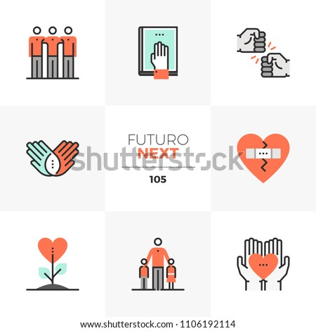 Modern flat icons set of best friends, friendship culture, happiness. Unique color flat graphics elements stroke lines. Premium quality vector pictogram concept for web, logo, branding, infographics.