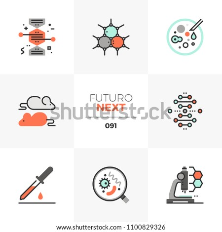 Modern flat icons set of bio technology process, gene modification. Unique color flat graphics elements with stroke lines. Premium quality vector pictogram concept for web, logo, branding, infographic