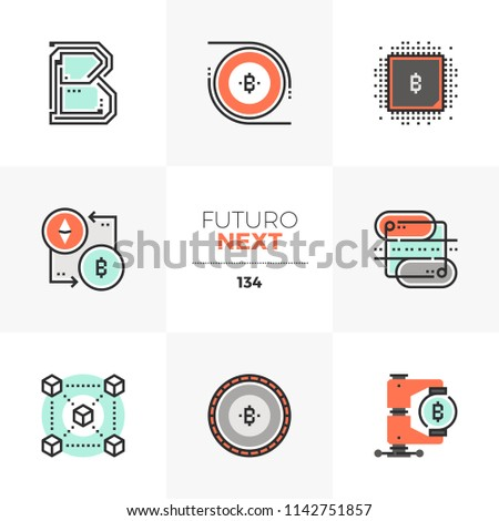 Modern flat icons set of blockchain technology, crypto currency flow. Unique color flat graphics elements stroke lines. Premium quality vector pictogram concept for web, logo, branding, infographics.