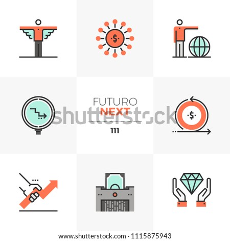 Modern flat icons set of business angel investor, crowd funding. Unique color flat graphics elements with stroke lines. Premium quality vector pictogram concept for web, logo, branding, infographics.