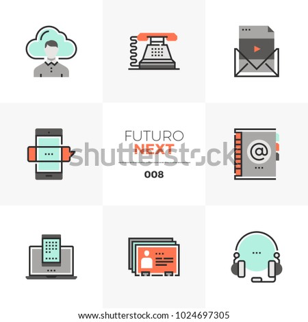 Modern flat icons set of business communication, mobile connection. Unique color flat graphics elements with stroke lines. Premium quality vector pictogram concept for web, logo, branding, infographic
