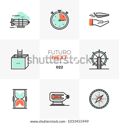 Modern flat icons set of business perspectives and transportation. Unique color flat graphics elements with stroke lines. Premium quality vector pictogram concept for web, logo, branding, infographics